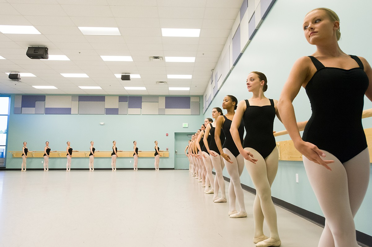 Ballet class pictured in the Dance Studio