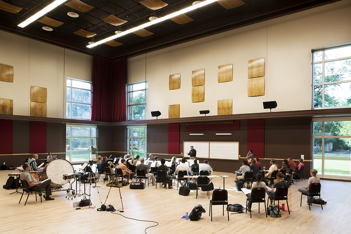 Students pictured rehearsing in Instrumental Rehearsal Hall
