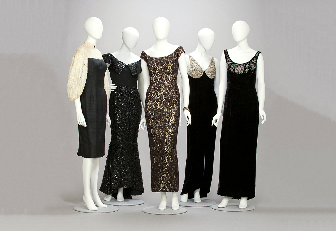 Five gowns designed by Mr. Blackwell